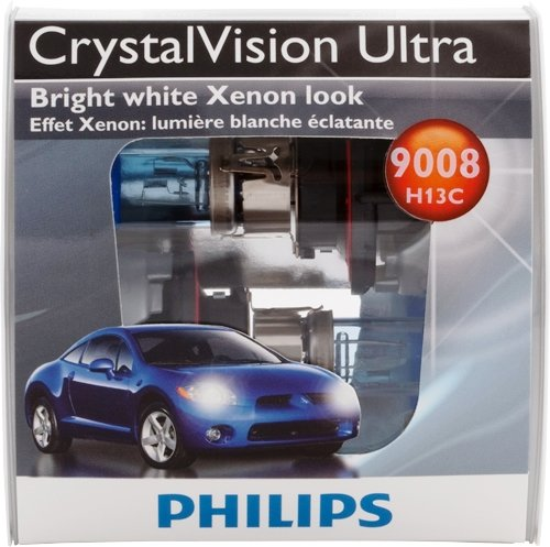 Philips 9008 / H13 Crystal Vision Ultra Upgrade Headlight Bulb, 2 Pack - Automotive Headlight