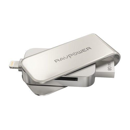 RAVPower iPhone Flash Drive 64GB USB 3.0 SD Memory Card Reader, RAVPower MFi Lightning Jump Thumb Pen Drive, External Storage Expansion for iPad iPod iOS Mac Windows PC - External Storages
