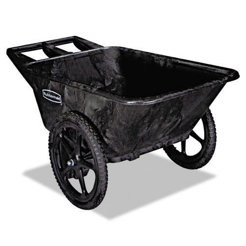 Rubbermaid Commercial Big Wheel Yard Cart, 3.5cu.ft, 300lb capacity, Black (FG564261BLA) - 2-WHEEL WHEELBARROW