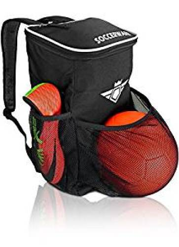 Soccer Backpack with Ball Holder Compartment - For Kids Youth Boys & Girls | Bag Fits All Soccer Equipment & Gym Gear (Black) - Soccer Backpacks