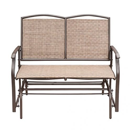 SunLife Outdoor Indoor Glider Loveseat Set Rattan Resin Wicker Patio Bench Furniture Double for 2 Person - Patio Gliders