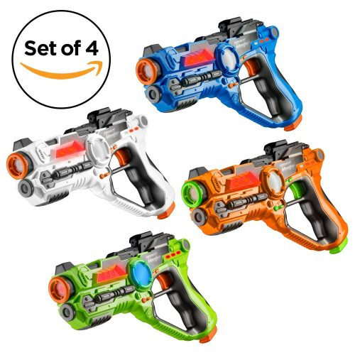 Toydaloo Set of 4 Infrared Laser Tag Guns, 4 Player Indoor and Outdoor Team Game - Laser Tag Guns