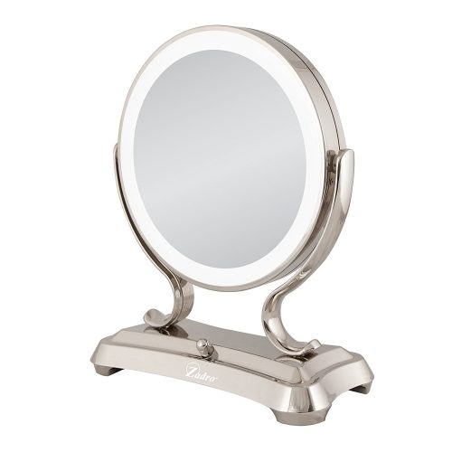 Zadro Polished Nickel Surround Light Dual Sided Glamour Vanity Mirror - Ring Lighted Mirrors