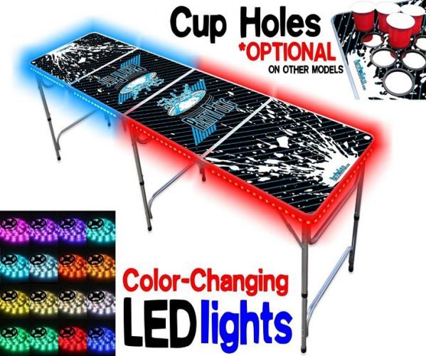 8-Foot Beer Pong Table w/ OPTIONAL Cup Holes, LED Glow Lights, Dry Erase Surface, Custom Graphics - Beer Pong Tables