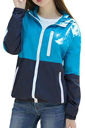 Lasher Women's Sun Protect Outdoor Jacket Quick Dry Windproof Windbreaker Coat (Small, Blue) - Windbreaker jackets