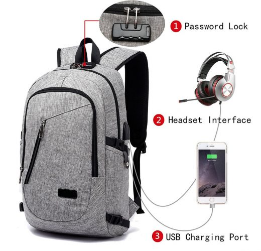 FLYMEI Laptop Backpack with USB Charging Port and Lock   Headphone  Compartment, Fits 12- 4ba558b2b9