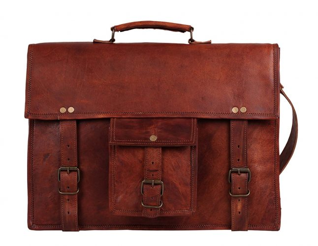 18 Inch Leather Vintage Rustic Crossbody Messenger Courier Satchel Bag Gift Men Women ~ Business Work Briefcase Carry Laptop Computer Book Handmade Rugged & Distressed ~ Everyday Office College School.