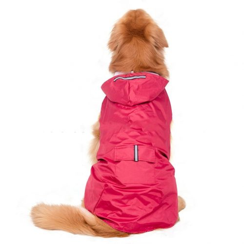 Elite fashion Nylon waterproof fabric hooded dog raincoat, Suit for Small Medium Large Dogs, Red/Blue