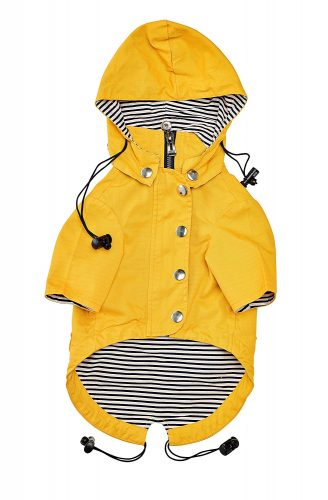 Yellow Zip Up Dog Raincoat With Reflective Buttons, Pockets, Rain/Water Resistant, Adjustable Drawstring, & Removable Hoodie - Extra Small to Extra Large - Stylish Dog Raincoats By Ellie Dog Wear