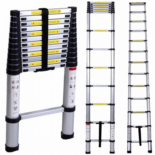 WolfWise 12.5/15.5 FT Telescoping Ladder Aluminum Telescopic Extension Tall Multi Purpose