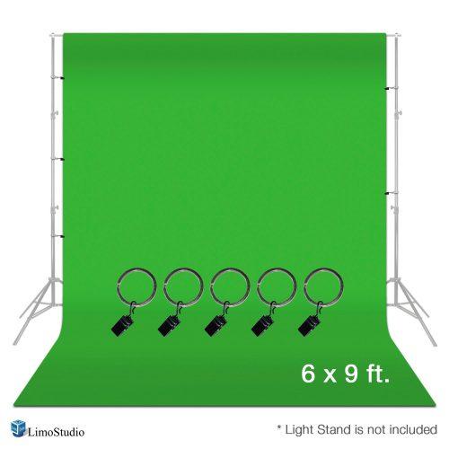LimoStudio, AGG1338, Photo Video Studio 6 x 9 feet Green Muslin Backdrop Muslin with Backdrop Ring Holder Clip
