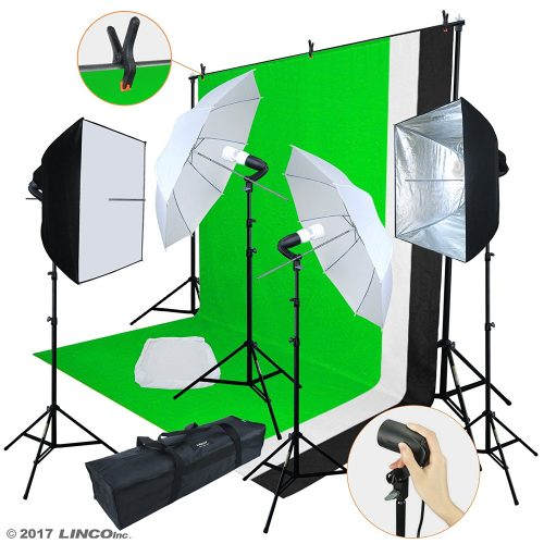 Linco Lincostore Photo Video Studio Light Kit AM169 - Including 3 Color Backdrops (Black/Whtie/Green) Background Screen