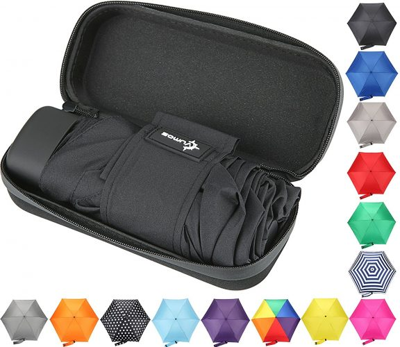 Travel Umbrella with Waterproof Case - Small and Compact for Backpack or Purse - Compact umbrella