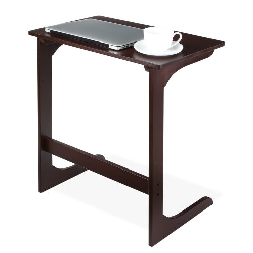 HOMFA Bamboo Snack Table Sofa Couch Coffee End Table Bed Side Table Laptop Desk Modern Furniture for Home Office, Retro Color.