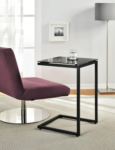 Ameriwood Home Crane Glass Top C Table, Black.
