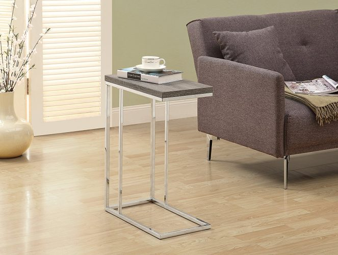 Monarch Specialties I 3008, Accent Table, Chrome Metal, Dark Taupe.