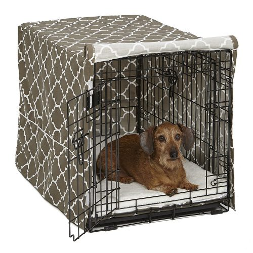 Middle West Wire Dog Crate Covers in Black or Camouflage Polyester or an industrial Cotton / Polyester mix that includes Teflon cloth guardian