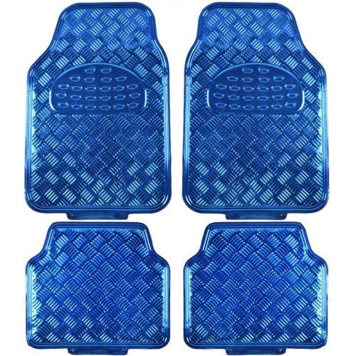 BDK Universal Fit 4-Piece Metallic Design Car Floor Mat-(Blue)