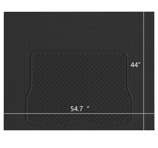 PICAUTO Heavy Duty Rubber Trunk Cargo Liner Floor Mat, Trimmable to Fit for Car, SUV, Van, Trucks (Large, Black) (Black1)