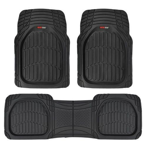 Motor Trend Flex Tough Contour Liner- Deep Dish Heavy Duty Rubber Floor Mats Floor Mats For Car SUV Truck & Van- All-Weather Protection - Black