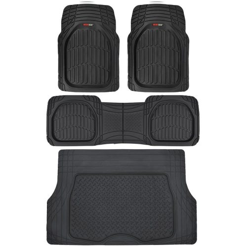 Motor Trend 4pc Black Car Floor Mats Set Rubber Tortoise Liners w/ Cargo For Auto SUV Trucks-All Weather Heavy Duty Floor Protection