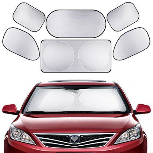 GHB Full Car Sun Shade Folding Silvering Reflective Car Window Sun Shade Visor Shield Cover - Car Window Sunshades
