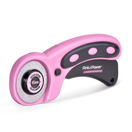 Pink Power 45mm Rotary Cutter for Fabric, Scrapbooking, Quilting and Sewing - Fabric Cutters