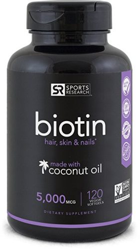 Sports Research Biotin Veggie Softgel enhanced with Coconut Oil - Coconut Oil Products