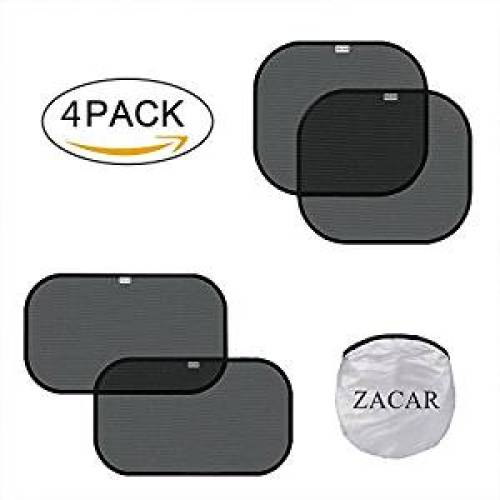 """ZACAR Car Window Shade ( 4 Pack ) ,2 pack for 20 """"x12"""" and 2 pack for 17 """"x15"""" , Cling Sunshade For Car Windows Protect your baby in the back seat from sun glare and heat. Blocks over 99% of harmful UV - Car Window Sunshades"""