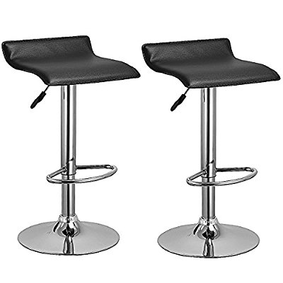 Costway set of two Swivel Bar stools adjustable PU Leather Backless dining chair (Black) - Adjustable Bar Stool
