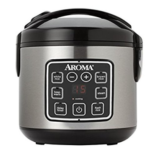 Aroma Housewares ARC-914SBD 8-Cup (Cooked) Digital Cool-Touch Rice Cooker and Food Steamer, Stainless Steel - Food Steamers