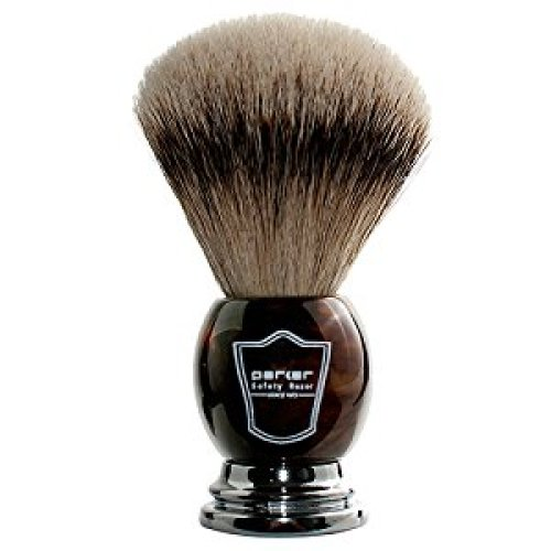 Parker Safety Razor 100% Silvertip Badger Bristle Faux Horn Handle Shaving Brush -- Brush Stand Included - Shaving Brush