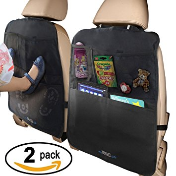 Kick Mat Auto Seat Back Protectors + 4 Large Organizer Pockets, Waterproof Seat Covers For The Back Of Your Seat 2 Pack, X-Large Car Back Seat Protectors, Backseat Organizer, Kick Guard Seat Saver - Car Back Seat Organizers