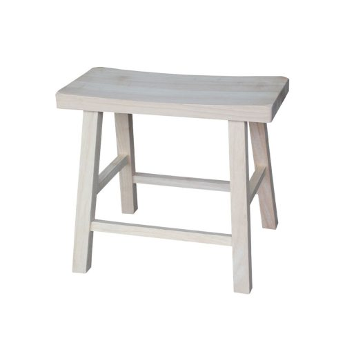 International Concepts 1S-681 18-Inch Saddle Seat Stool, Unfinished - Wooden Stools