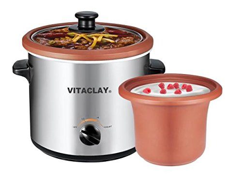 VitaClay VS7600-2C 2-in-1 Yogurt Maker and Personal Slow Cooker in Clay, Stainless Steel - yogurt maker