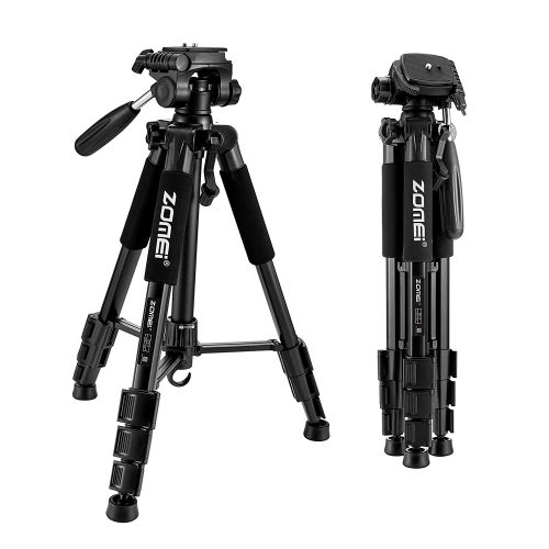 "ZOMEI 55"" Compact Light Weight Travel Portable Folding SLR Camera Tripod for Canon Nikon Sony DSLR Camera Video with Carry Case(black) - DSLR camera tripods"