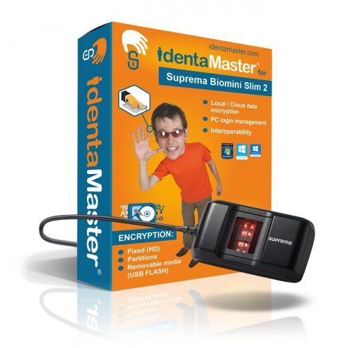 IdentaMaster Biometric Security Software with Suprema BioMini Slim 2 Fingerprint Reader / Encryption, PC Login for Windows 7/8/10 - Fingerprint Scanners