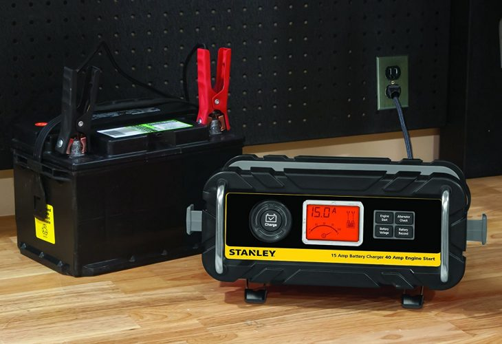 STANLEY BC15BS 15 Amp Bench Battery Charger with 40 Amp Engine Start and Alternator Check - Car Battery Chargers