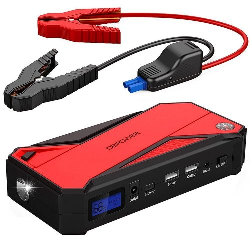 DBPOWER 600A Peak 18000mAh Portable Car Jump Starter (up to 6.5L Gas/ 5.2L Diesel Engine) Power Pack Battery Booster, Power Bank with Smart Charging Port, Compass, LCD Screen & LED Flashlight (Red) - Car Battery Chargers