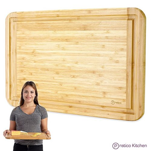 Bamboo Cutting Board and Serving Tray with Juice Groove - Extra Large 18 x 12 inches - Made Using Premium Bamboo - Wooden Cutting Boards