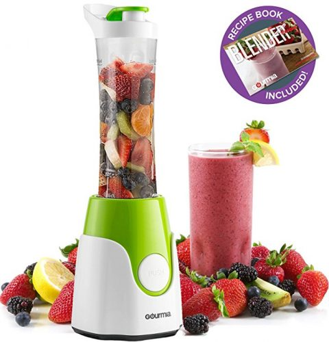 Gourmia GPB250 Personal Home Blender - BlendMate Smoothie Plus Edition - with Travel Sports Bottle Lid and Dual Action Blade 250W - Green - Free E-Recipe Book Included - Smoothie Blenders