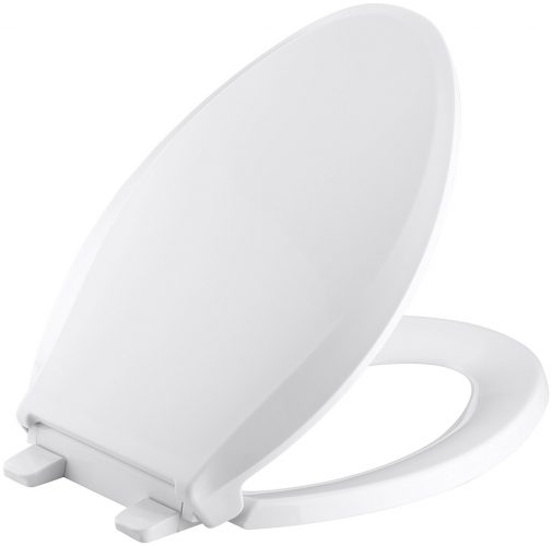 KOHLER K-4636-0 Cachet Quiet-Close with Grip-Tight Bumpers Elongated Toilet Seat, White - toilet seats
