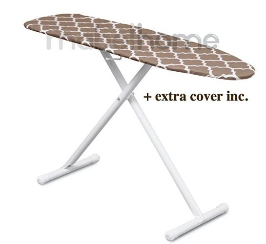 Mabel Home T-Leg Adjustable Height ironing Board with Light-Brown/White Patterned Cotton Cover, + Extra Cover - Ironing Boards