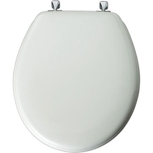 Mayfair Molded Wood Toilet Seat featuring STA-TITE Seat Fastening System & Chrome Hinges, Round, White, 44CP 000 - toilet seats