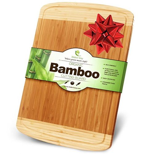 Midori Way Thick Bamboo Wood Cutting Board with Juice Grooves - Extra Large (18x12 -Inch) - Wooden Cutting Boards