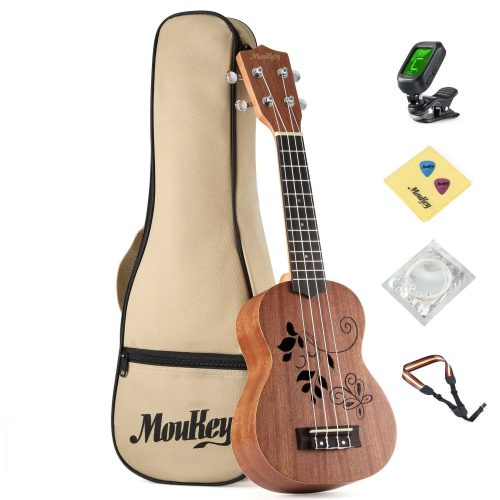 "Moukey 21"" Soprano Ukulele Starter Pack for Beginner, 21H Flower Laser Etching"