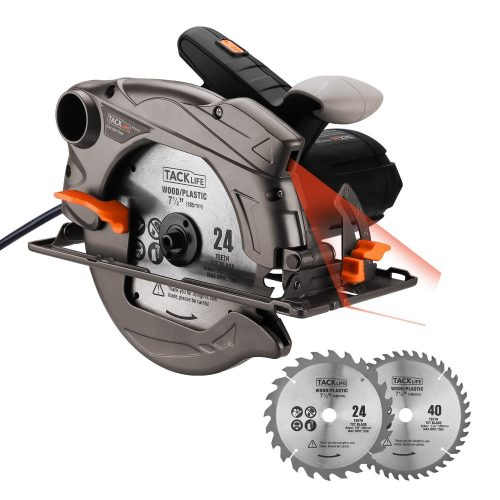 """Tacklife 7-1/4"""" Circular Saw with Laser Guide, Extra 40T Blade, Lightweight Aluminum Guard, Max Cutting Depth 2-1/2''(90 Degree), 1-4/5''(45 Degree) for Wood, Soft Metal, Tile, PES01A - circular saw"""