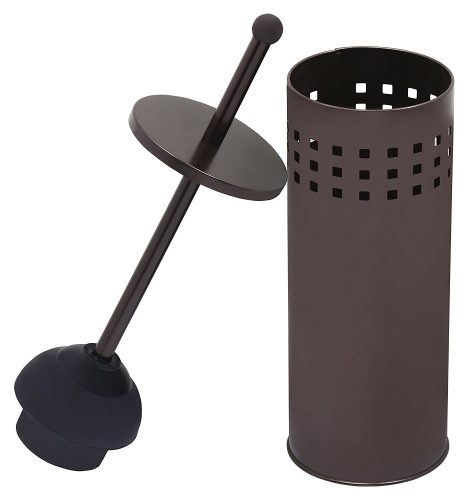 Toilet Plunger with Holder for Bathroom, Multi Drain Suitable also for Bathtubs, Quick Dry, Bronze - Toilet Plunger