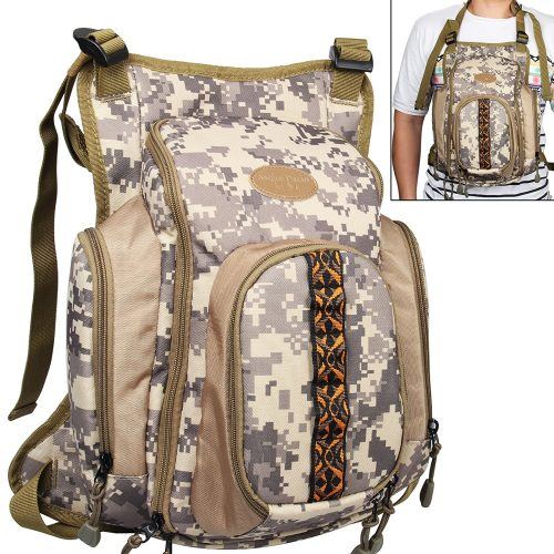 AnglerDream Fly Fishing Pack Outdoor Sports Mesh Vest Pack/Chest Pack/Sling Pack/Back Pack Universal Adjustable Fishing Hunting Hiking Fishing Pack with...