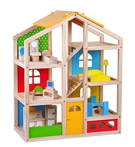 Skylar Dollhouse with 20ys Furniture, 4 Dolls, and a Pet dog, by Pidoko Kids